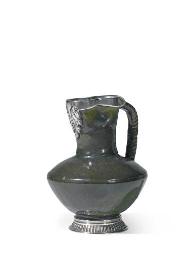 View 1. Thumbnail of Lot 279. A Fabergé silver-mounted ceramic jug, workmaster Julius Rappoport, St Petersburg, circa 1890.
