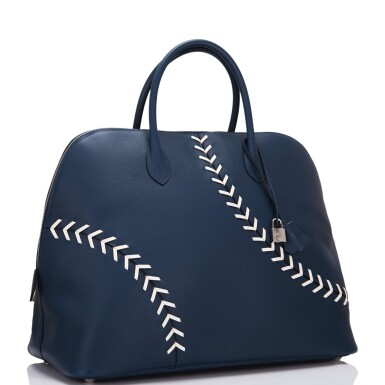 View 2. Thumbnail of Lot 17. Hermès Baseball Bolide 45cm in Bleu de Malte Evercolor Leather with Palladium Hardware.