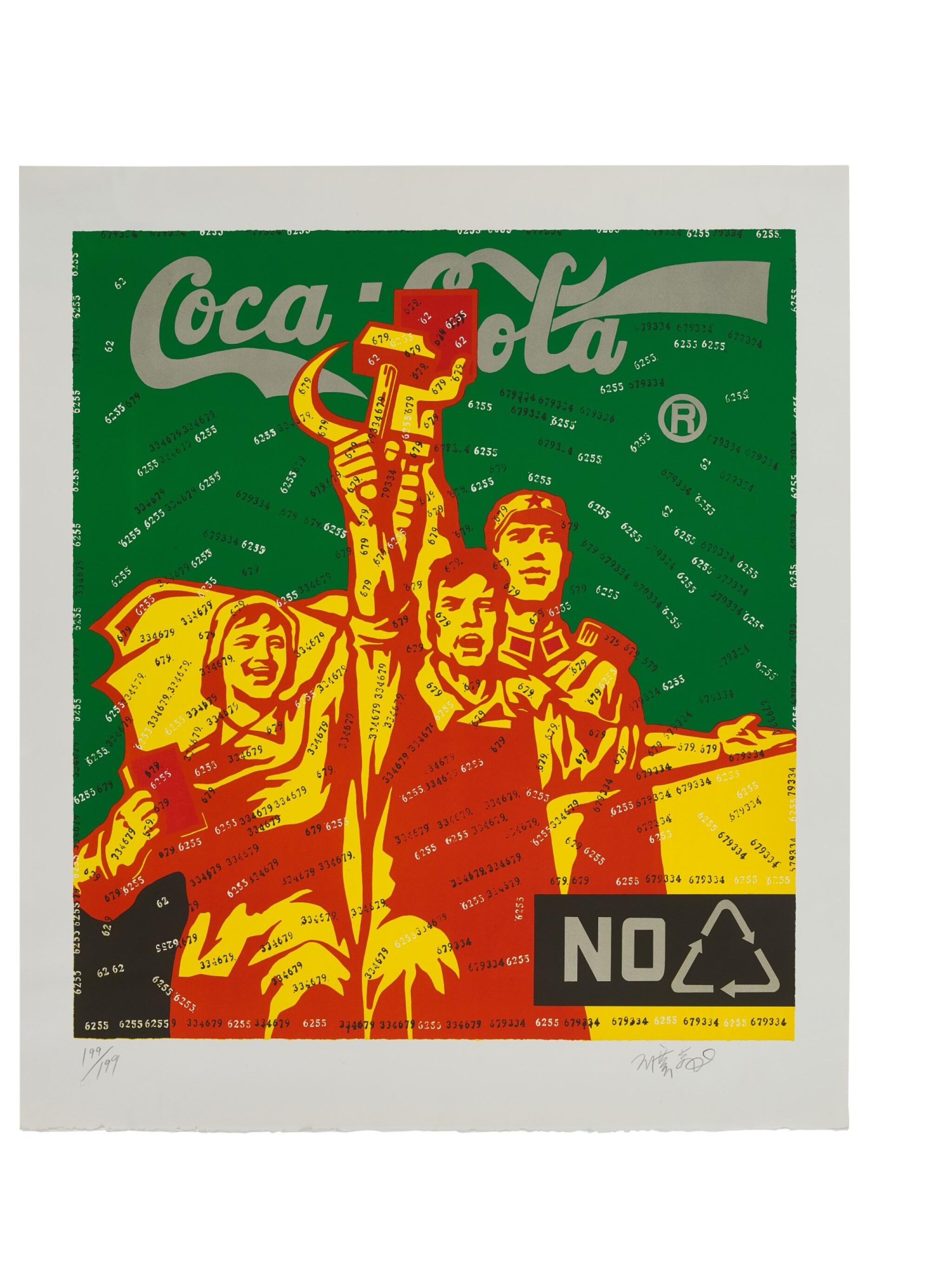 View full screen - View 1 of Lot 9039. 王廣義 WANG GUANGYI | 大批判系列 - 可口可樂 Great Criticism Series - Coca Cola.