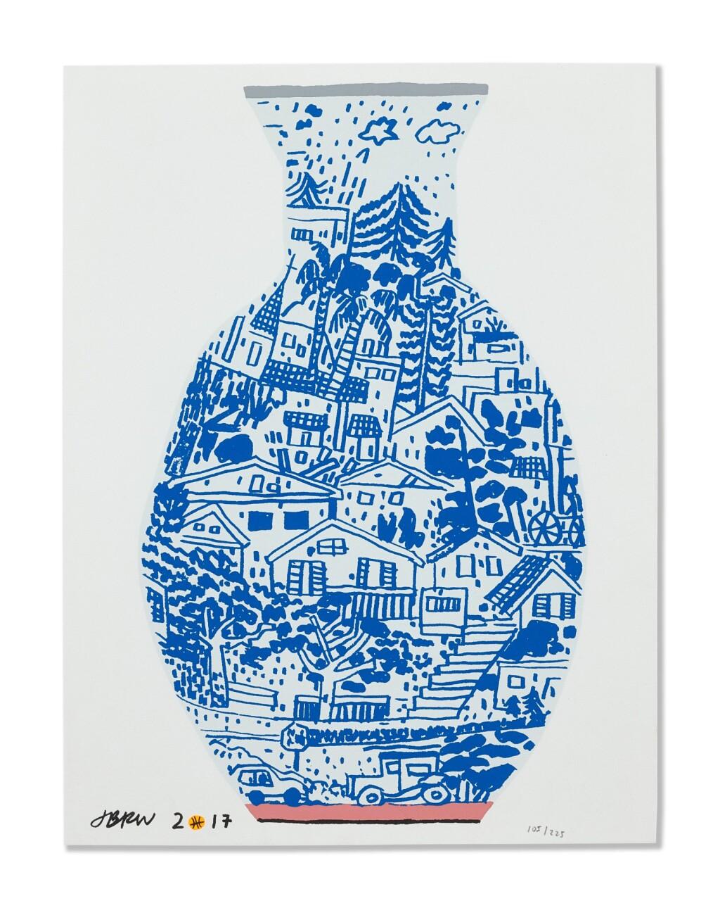 JONAS WOOD 喬納斯・伍德 | BLUE FRIMKESS LANDSCAPE POT 藍色弗里克斯風景壺