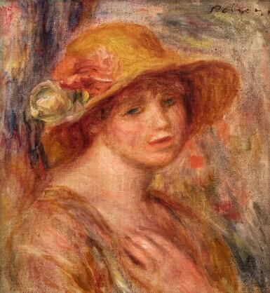 View 1. Thumbnail of Lot 40. Femme au chapeau de paille.