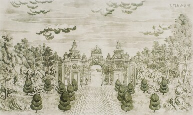 View 25. Thumbnail of Lot 362. A SET OF TWENTY PRINTS OF PALACES, PAVILIONS AND GARDENS AT YUANMING YUAN | 巴黎、1977年 《郎世寧圓明園西洋樓》 一組二十幅 水墨紙本.