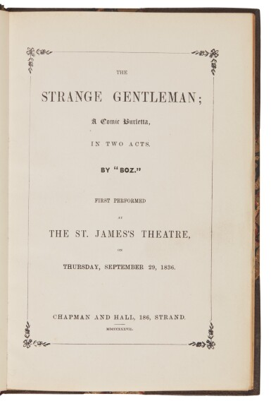 Dickens, The Strange Gentleman, 1871, facsimile of the 1837 edition