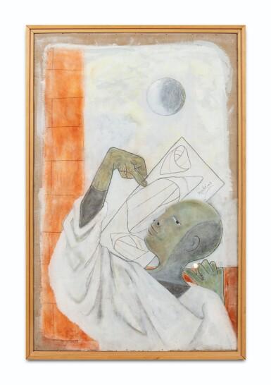 View 2. Thumbnail of Lot 35. JEAN COCTEAU. Astrologue IV. Moebius 1954. Technique mixte (pastel, huile et gouache) sur carton fort, signée, 1954.
