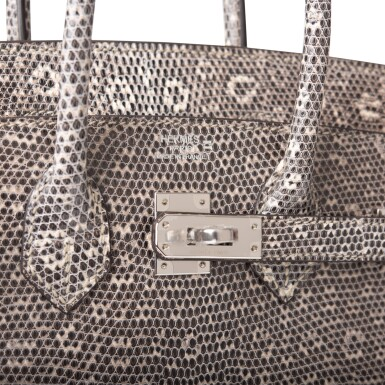 View 7. Thumbnail of Lot 2. Hermès Ombre Birkin 25cm of Varanus Salvator Lizard with Palladium Hardware.