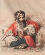 EUGENE VAN MALDEGHEM | A Seated Turkish gentleman