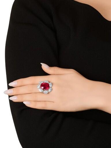 View 6. Thumbnail of Lot 1732. Ruby and Diamond Ring | 15.45克拉 天然「馬達加斯加」紅寶石 配 鑽石 戒指.