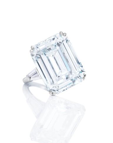 View 1. Thumbnail of Lot 1638. AN IMPRESSIVE DIAMOND RING, MOUNT BY VAN CLEEF & ARPELS | 非常壯觀 16.38卡拉 方形 D色 全美無瑕(FL)Type IIa 鑽石戒指, 梵克雅寶戒台.