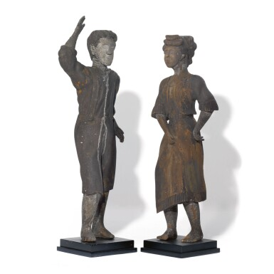 VERY FINE AND RARE CARVED AND PAINTED PINE DANCING FIGURES, PENNSYLVANIA, CIRCA 1900