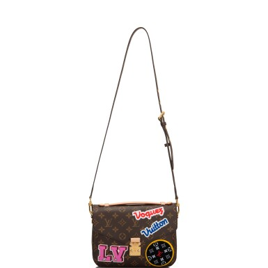 View 7. Thumbnail of Lot 114.  Louis Vuitton Monogram Patches Pochette Metis of Coated Canvas with Golden Brass Hardware.
