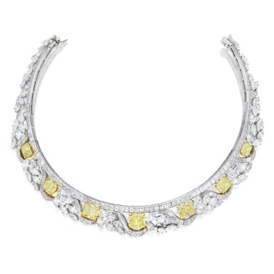 View 1. Thumbnail of Lot 518. FANCY COLORED DIAMOND AND DIAMOND NECKLACE, GRAFF | 彩色鑽石配鑽石項鏈,Graff.