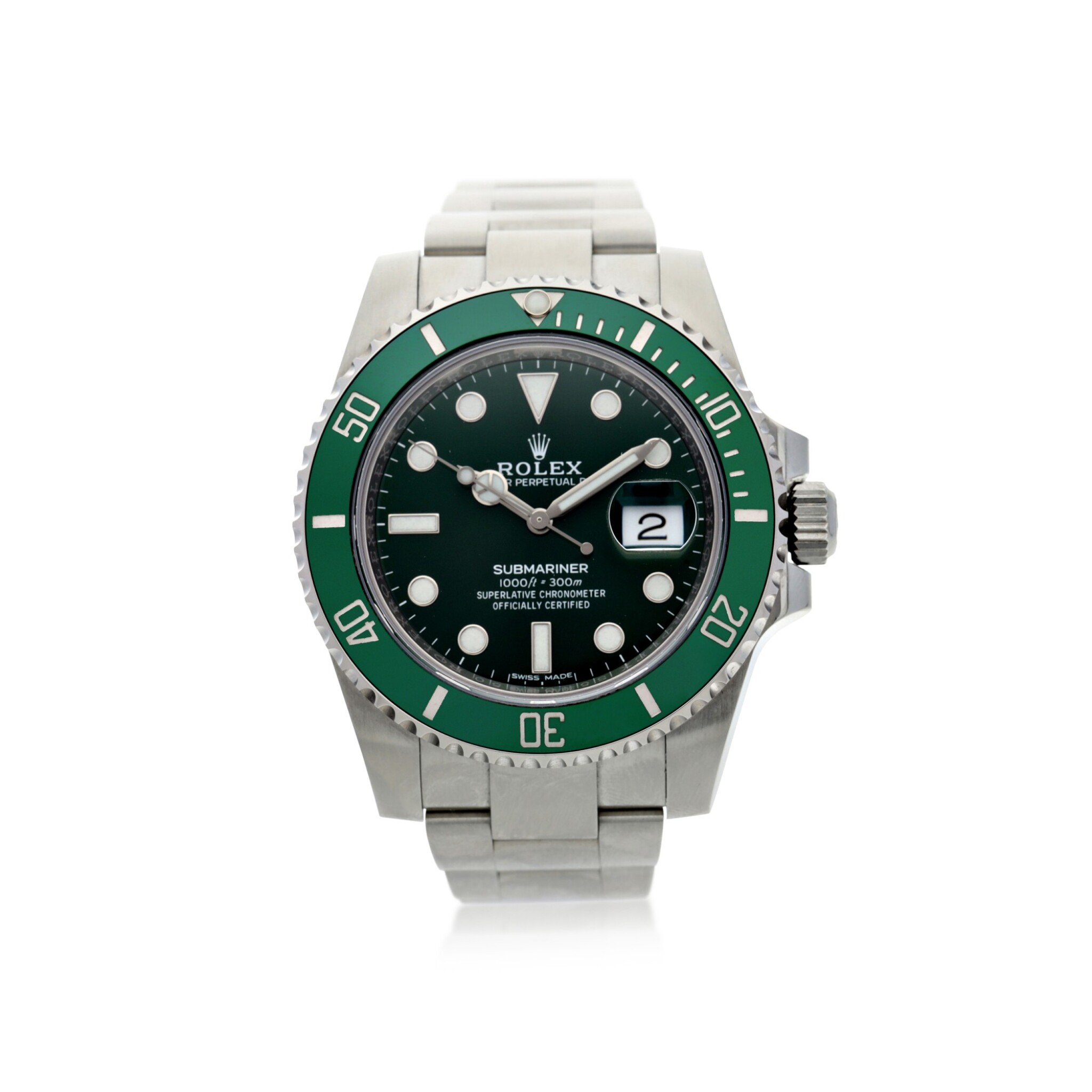 View full screen - View 1 of Lot 18. ROLEX | REFERENCE 116610LV SUBMARINER 'HULK'  A STAINLESS STEEL AUTOMATIC WRISTWATCH WITH DATE AND BRACELET, CIRCA 2018.