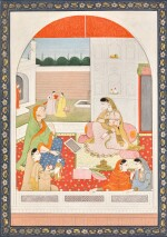 A NAYIKA WITH ATTENDANTS AND A DOLL, INDIA, PAHARI, EARLY 19TH CENTURY