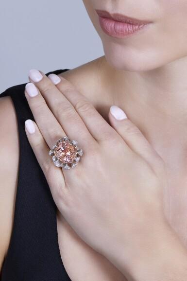 View 3. Thumbnail of Lot 191. Padparadscha Sapphire and Diamond Ring [橙粉紅色剛玉配鑽石戒指].