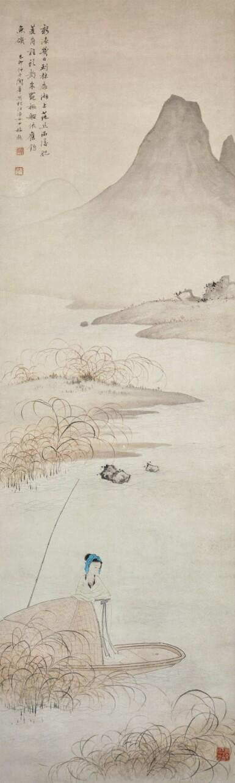 View 2. Thumbnail of Lot 46. GUAN HUA, LADY BY THE BOAT   關華 《漁女》  設色紙本 立軸.