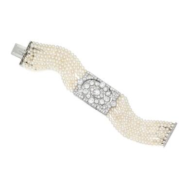 PEARL AND DIAMOND BRACELET, CARTIER   珍珠配鑽石手鏈,卡地亞