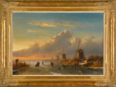 View 2. Thumbnail of Lot 83. Ice Skaters at Sunset.