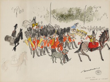 View 1. Thumbnail of Lot 309. Sketch for 'Madeline in London' (The Queen's Guard).