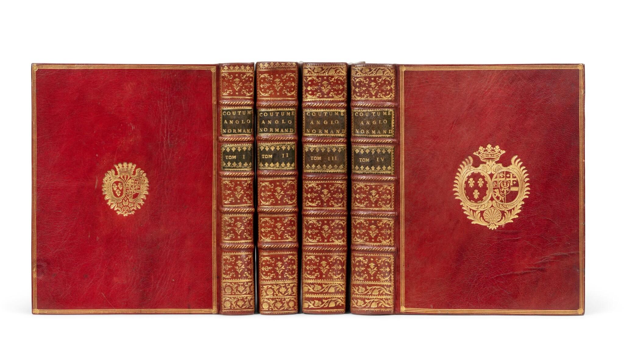 View full screen - View 1 of Lot 76. Traités sur les coutumes anglo-normandes. 1776. 4 vol. in-4. Armes comtesse de Provence et comtesse d'Artois..