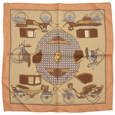 Printed silk scarf 'Les Voitures à transformation', Hermès