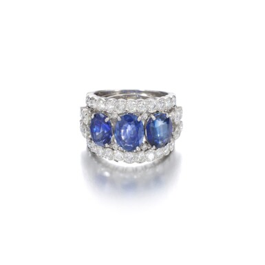 View 1. Thumbnail of Lot 1152. Sapphire and diamond ring.