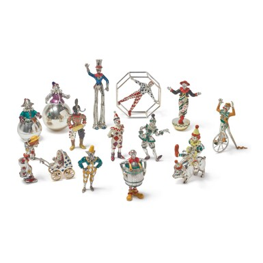 CLOWNS: A GROUP OF SILVER AND ENAMEL CIRCUS FIGURES, DESIGNED BY GENE MOORE FOR TIFFANY & CO., NEW YORK, CIRCA 1990