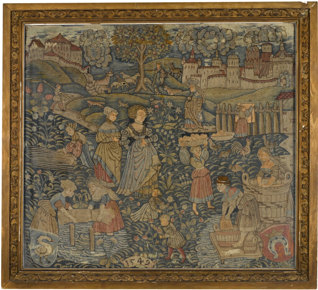 A PASTORAL EMBROIDERED PANEL, PROBABLY GERMAN, DATED 1549