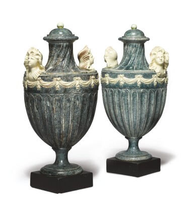 A PAIR OF WEDGWOOD AND BENTLEY CREAMWARE PORPHYRY TWO-HANDLED VASES AND COVERS CIRCA 1768-80