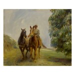 SIR ALFRED JAMES MUNNINGS, P.R.A., R.W.S. | SHRIMP LEADING TWO HUNTERS