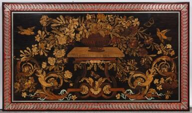 A PART LOUIS XIV EBONY, AMARANTH, BONE INLAID FRUITWOOD MARQUETRY TABLE TOP, POSSIBLY BY ANDRÉ-CHARLES BOULLE, OR AUBERTIN GAUDRON   PLATEAU EN MARQUETERIE D'ÉBÈNE, AMARANTE, BOIS FRUITIERS ET OS EN PARTIE D'ÉPOQUE LOUIS XIV, PROBABLEMENT PAR ANDRÉ-CHARLES BOULLE OU AUBERTIN GAUDRON