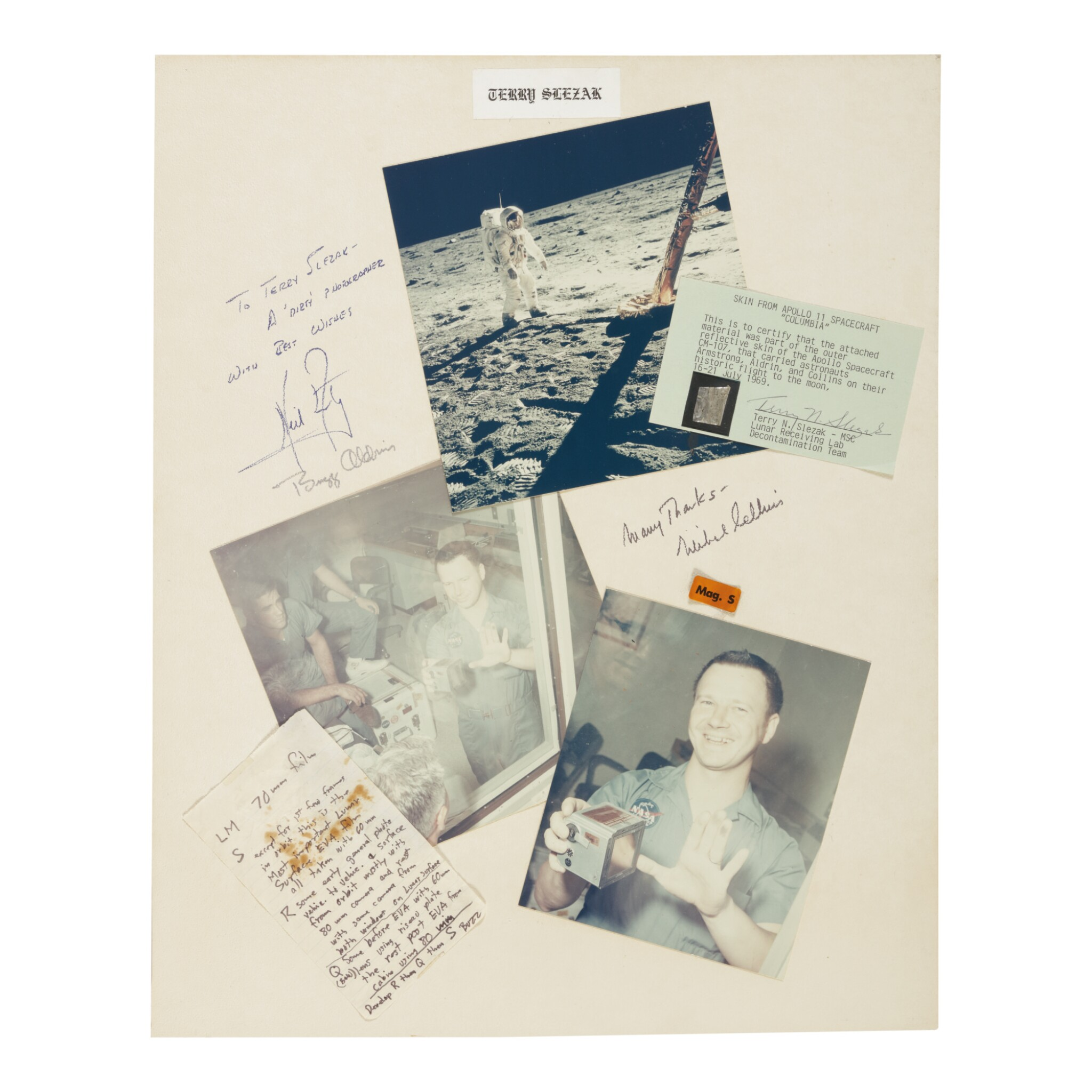 """View full screen - View 1 of Lot 107. [APOLLO 11]. LUNAR SURFACE FLOWN FILM MAG """"S"""" LABEL, 1ST ALS TO BE WRITTEN ON THE MOON, AND CREW SIGNED PRESENTATION."""