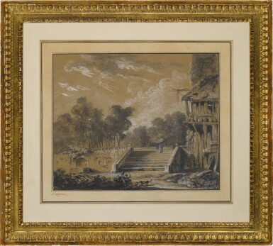 View 3. Thumbnail of Lot 154. A landscape with a figure ascending stairs.