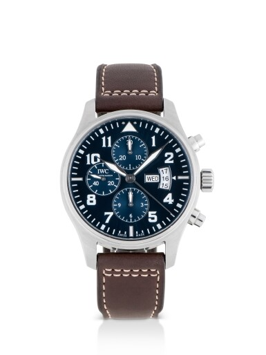 View 1. Thumbnail of Lot 43. IWC | PILOT'S WATCH LE PETIT PRINCE, REF 3777 STAINLESS STEEL CHRONOGRAPH WRISTWATCH WITH DAY AND DATE CIRCA 2015.