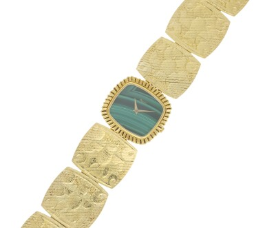 View 4. Thumbnail of Lot 66. PIAGET | REFERENCE 9431 B72 A YELLOW GOLD CUSHION SHAPED BRACELET WATCH WITH MALACHITE DIAL, CIRCA 1971.