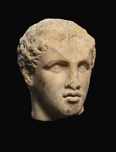 View 2. Thumbnail of Lot 22. A GREEK MARBLE HEAD OF A YOUTH, 3RD QUARTER OF 4TH CENTURY B.C..