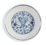 A BLUE AND WHITE 'PHOENIX' DISH, QING DYNASTY, 18TH CENTURY