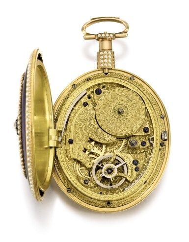 View 2. Thumbnail of Lot 24. WILLIAM ANTHONY, LONDON   A MAGNIFICENT AND EXCEPTIONALLY RARE GOLD, ENAMEL, PEARL AND DIAMOND-SET EIGHT-DAY WATCH WITH EXPANDING HANDS AND FLYING QUARTER SECONDS FOR THE CHINESE MARKET  CIRCA 1800, NO. 1706.