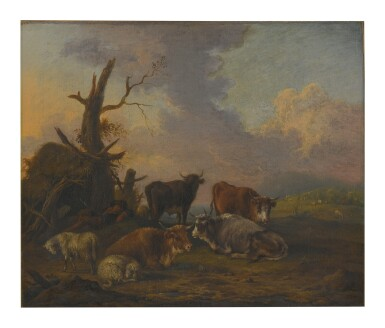View 1. Thumbnail of Lot 116. Sold Without Reserve   MICHIEL CARRÉE   A LANDSCAPE WITH COWS, SHEEP AND A RESTING HERDSMAN.