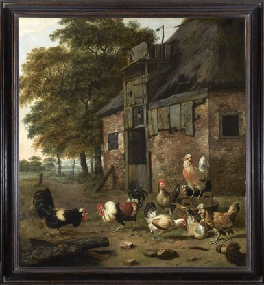 View 2. Thumbnail of Lot 268. DIRCK WIJNTRACK | POULTRY YARD WITH TWO COCKS FIGHTING.