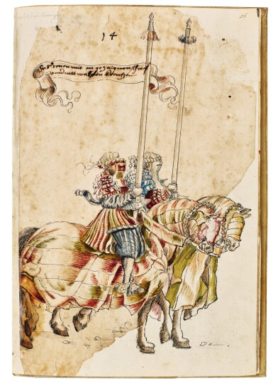 View 14. Thumbnail of Lot 9. WORKSHOP OF HANS BURGKMAIR THE ELDER | A 'TOURNAMENT BOOK', WITH 16 NUMBERED SHEETS OF DRAWINGS OF KNIGHTS, MOSTLY ON HORSEBACK, IN PAIRS .