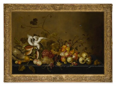 View 2. Thumbnail of Lot 620. Still life with fruits on a ledge and a white cockatoo.