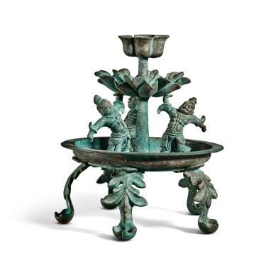 View 2. Thumbnail of Lot 101. A bronze oil lamp, Tang dynasty | 唐 銅天王花式五足燈.
