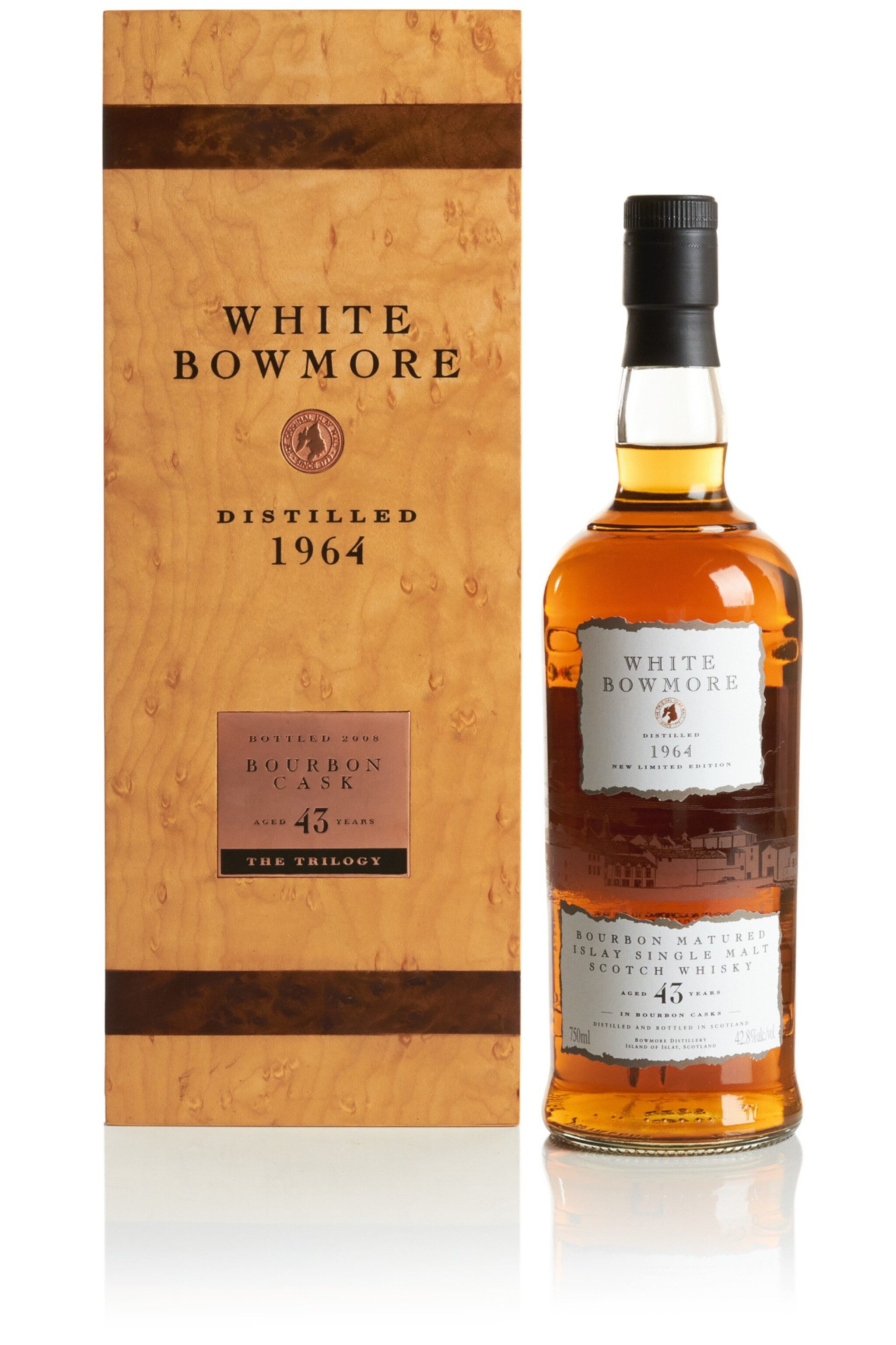 View full screen - View 1 of Lot 317. BOWMORE WHITE BOURBON CASK 43 YEAR OLD 42.8 ABV 1964   .