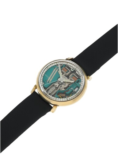View 5. Thumbnail of Lot 72. BULOVA | ACCUTRON SPACEVIEW A STAINLESS STEEL AND GOLD PLATED ELECTRONIC WRISTWATCH, CIRCA 1960.