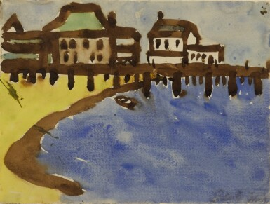 View 1. Thumbnail of Lot 1509. LESTER F. JOHNSON   UNTITLED (PROVINCETOWN HARBOR).