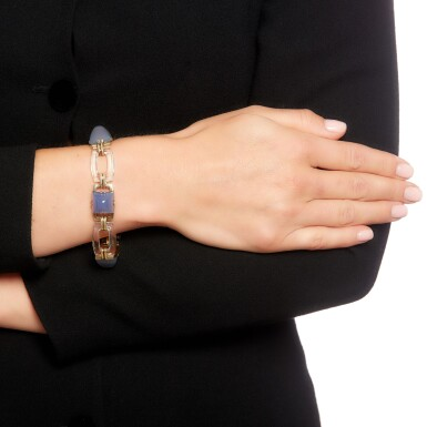 View 4. Thumbnail of Lot 157. Cartier | Rock crystal and chalcedony bracelet, 1940s.