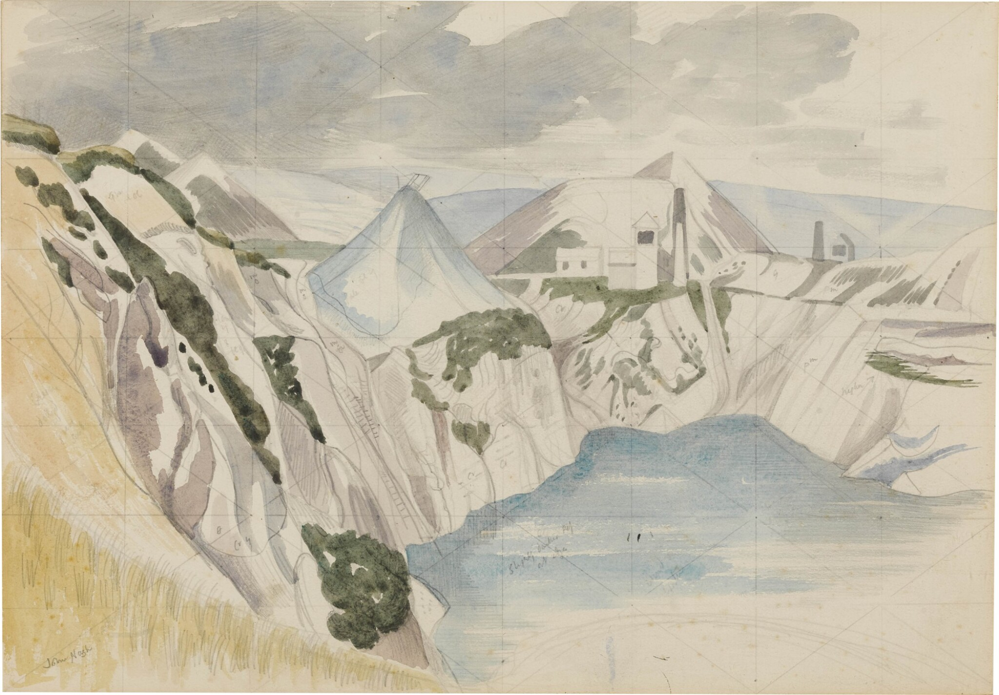 View full screen - View 1 of Lot 733. JOHN NASH R.A.   STUDY FOR CHINA CLAY PITS, CORNWALL.