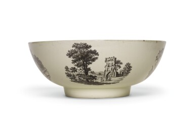 View 2. Thumbnail of Lot 136. A Wedgwood creamware transfer-printed commemorative punch bowl, late 18th century.