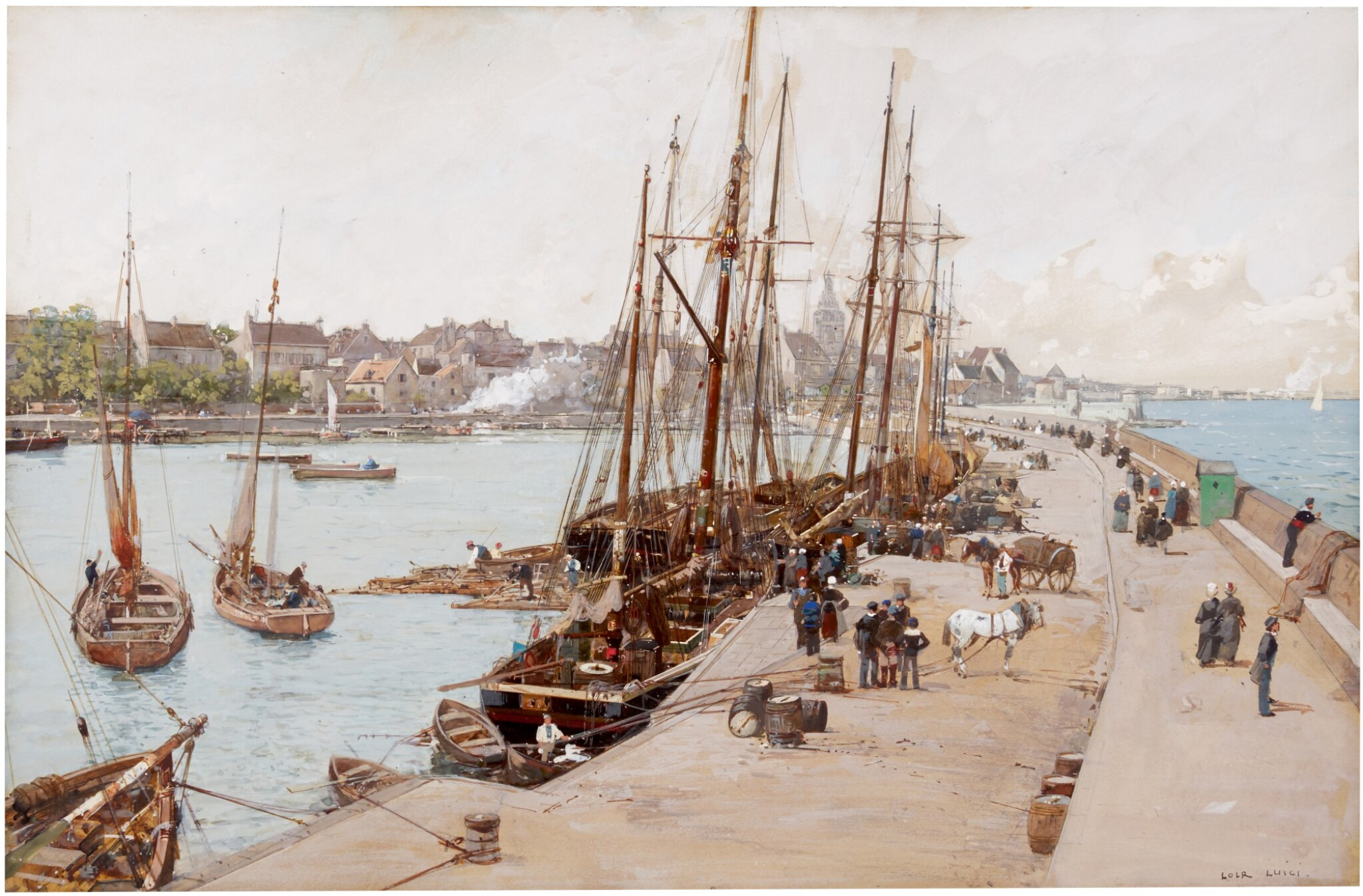 View full screen - View 1 of Lot 47. LUIGI LOIR  |  A VIEW OF ROSCOFF, BRITTANY.