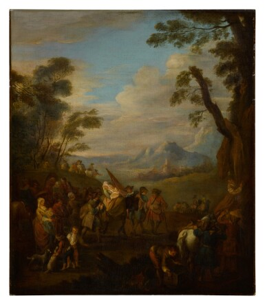View 2. Thumbnail of Lot 81. A group of soldiers traveling through the country.